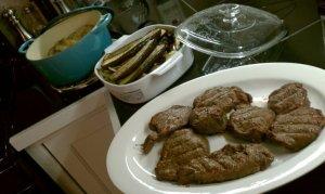 Elk filets and grilled veggies