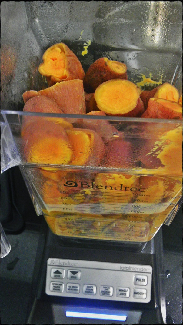 chopped sweet potatoes in a Blendtec blender