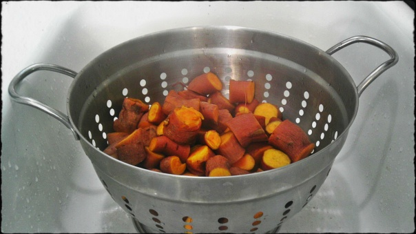 Chopped sweet potatoes.
