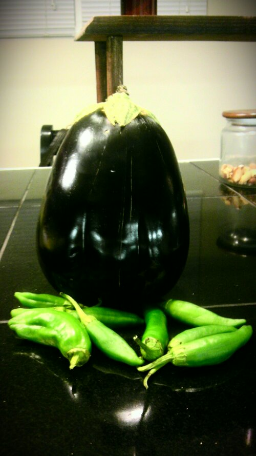 eggplant and peppers