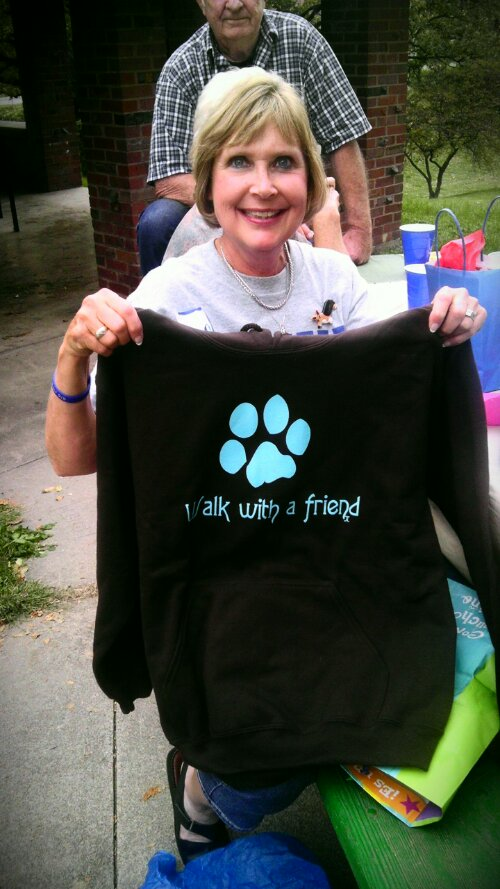 Walk with a Friend paw print hoodie