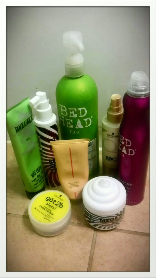 assortment of hair products