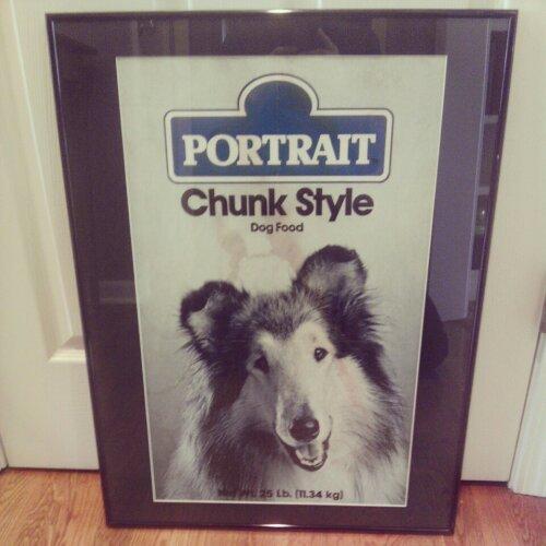 Framed Portrait dog food poster