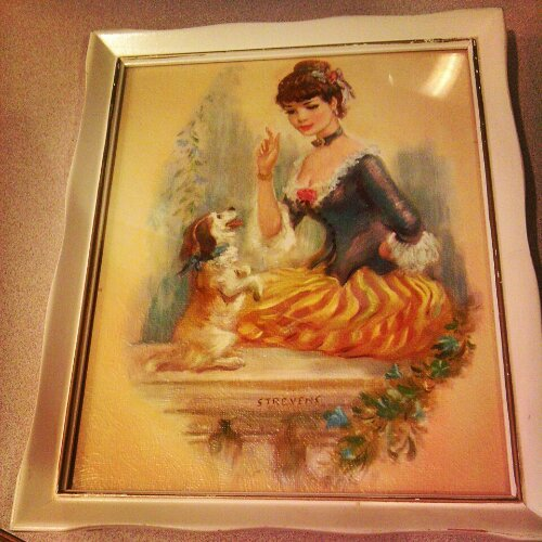 vintage print of victorian woman and dog