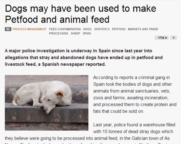 dog food in Spain found to contain dog meat